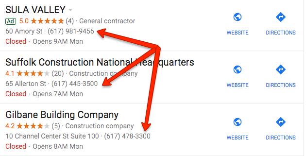 Resultados de Google SERP para construcción en Boston