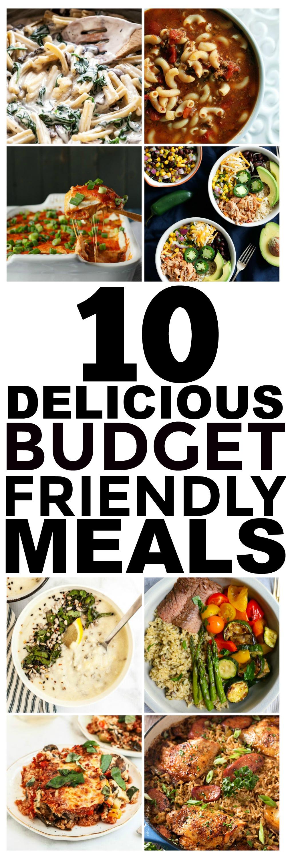 Buscando recetas de presupuesto? Aquí hay 10 comidas fáciles y baratas que debes comenzar a preparar. Sí, estas son comidas baratas que son deliciosas. Estas ideas de comidas y cenas saludables para familias o incluso solo para dos o uno son fáciles y deliciosas, ¡y algunas incluso son vegetarianas y veganas!