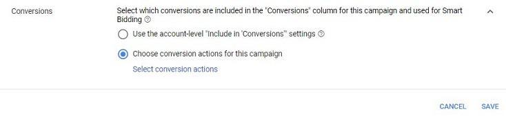 opción de conversiones a nivel de campaña