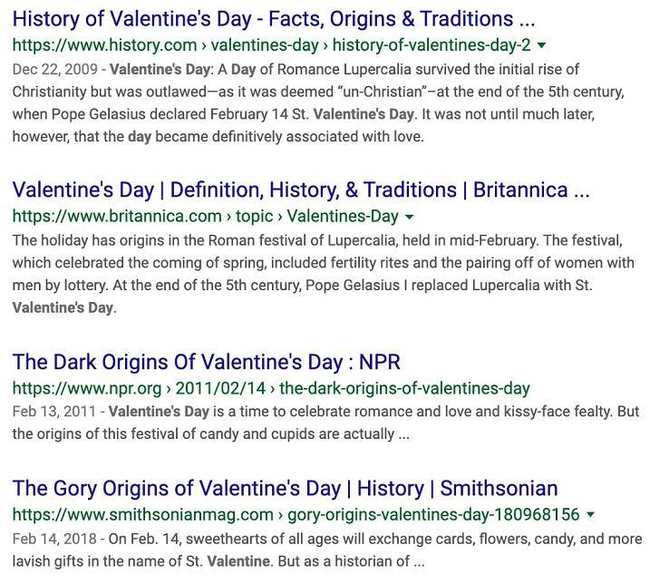 SERP para el día de San Valentín