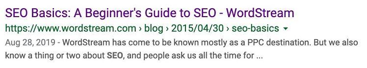 Resultado de búsqueda básico de SEO
