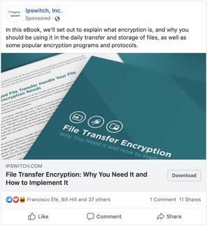 Ejemplo de anuncio de Facebook