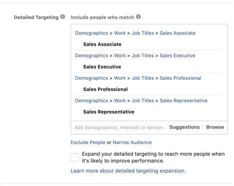 Ejemplos de orientación de Facebook