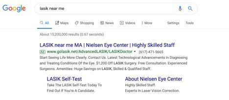 ejemplo de anuncio de búsqueda de lasik