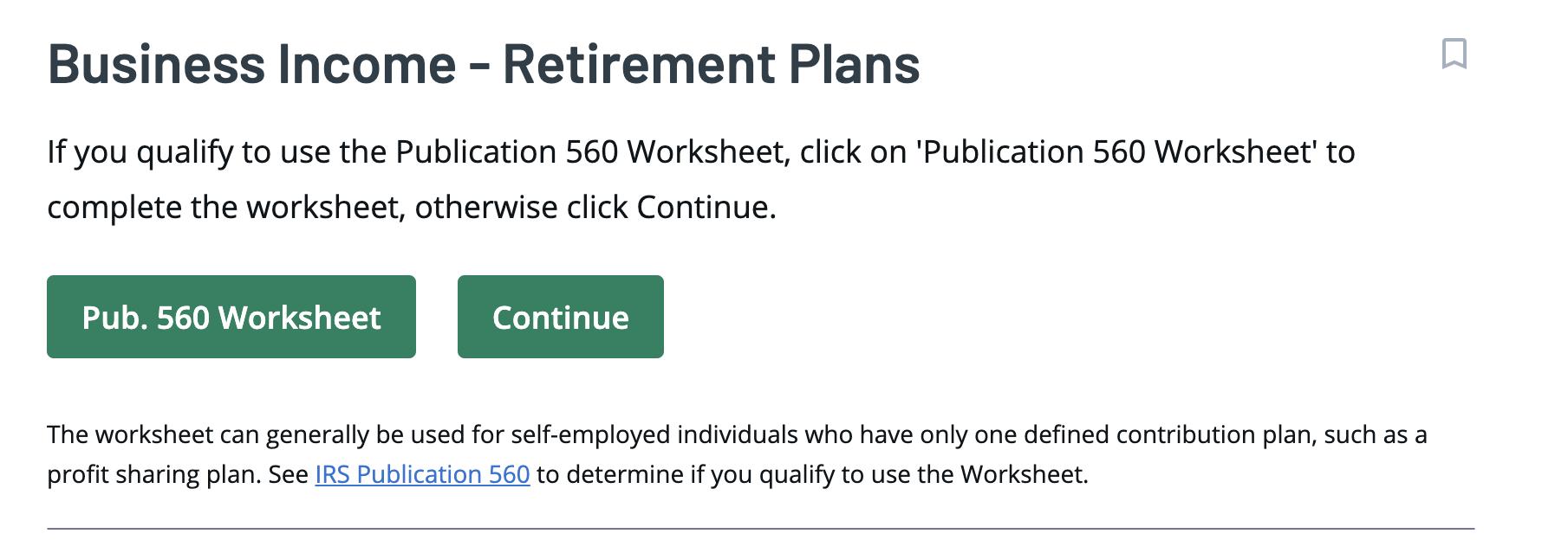 Ingresos de jubilación de negocios de TaxAct