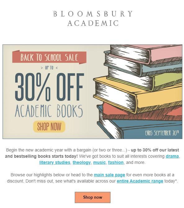 30% para la oferta de correo electrónico de regreso a la escuela