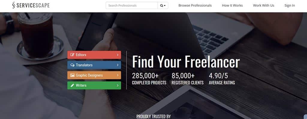 """servicescape """"width ="""" 1024 """"height ="""" 400 """"srcset ="""" https://ganardineroporinternet.me/wp-content/uploads/2019/12/1576739005_619_Mas-de-90-mejores-sitios-web-de-trabajos-independientes-para.jpg 1024w, https: // www.dreamshala.com/wp-content/uploads/2019/12/freelance-jobs-13-servicescape-300x117.jpg 300w, https://www.dreamshala.com/wp-content/uploads/2019/12/freelance -jobs-13-servicescape-768x300.jpg 768w """"tamaños ="""" (ancho máximo: 1024px) 100vw, 1024px """"/></p> <p>Con buena experiencia y habilidades, puede hacer una buena cantidad en <em><strong>ServiceScape</strong></em>  para varios trabajos independientes.</p> <p>Este es uno de los mercados globales para todos los trabajadores independientes que son buenos en escritura, edición, diseño gráfico y traducción.</p> <p>Desde 2009 hasta la fecha, tienen alrededor de 259000 proyectos completados con clientes más de 79000. Este sitio web es bueno para todos los principiantes y PYMES que ya gobernaron los negocios en línea.</p> <p>Al registrarse, se lo agregará al directorio de ServiceScape para que los clientes vean su perfil.</p> <p>Puede cargar su cartera con respecto a sus trabajos y los clientes interesados lo contactarán a través del sistema de comunicación incorporado (llamada o chat en línea o correos electrónicos).</p>  <h4><strong>14. Toptal</strong>:</h4> <p><img class="""