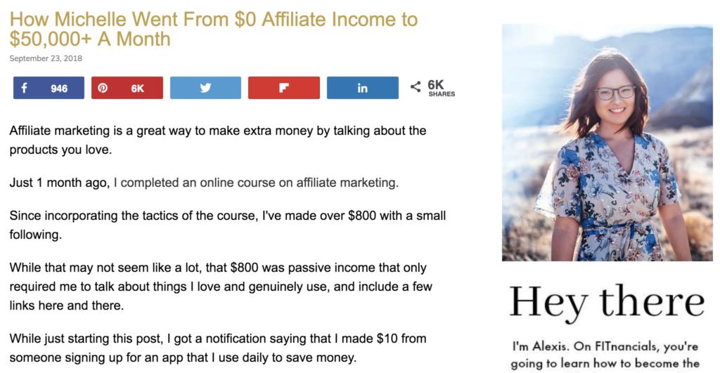 Cómo pasó Michelle de $ 0 en ingresos de afiliados a $ 50,000 + al mes