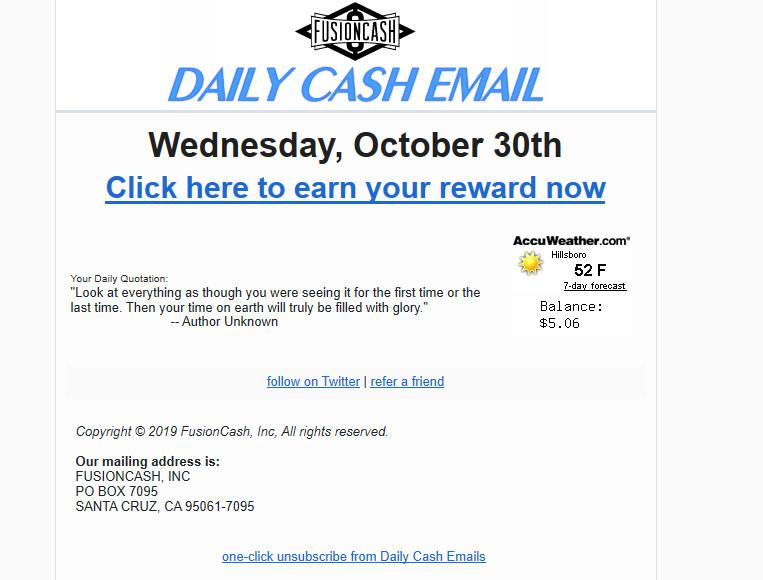 Fusion CAsh pagó el correo electrónico.