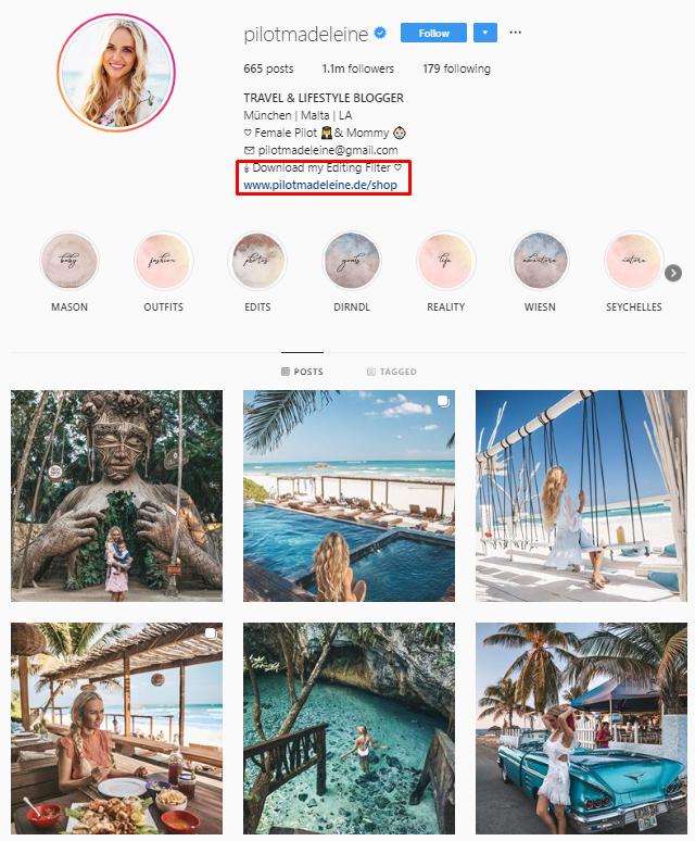 piloto de Instagram de Madeleine