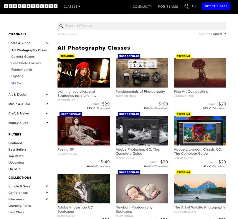 Algunas de las clases de fotografía que se ofrecen.