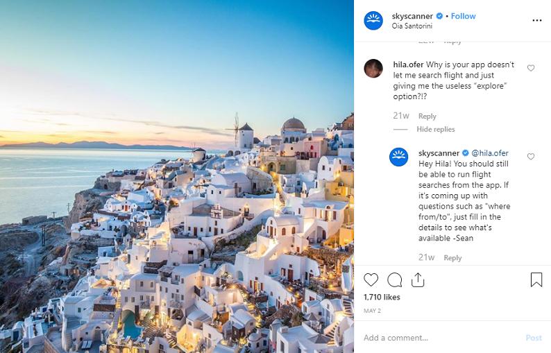 publicación de Instagram skyskanner