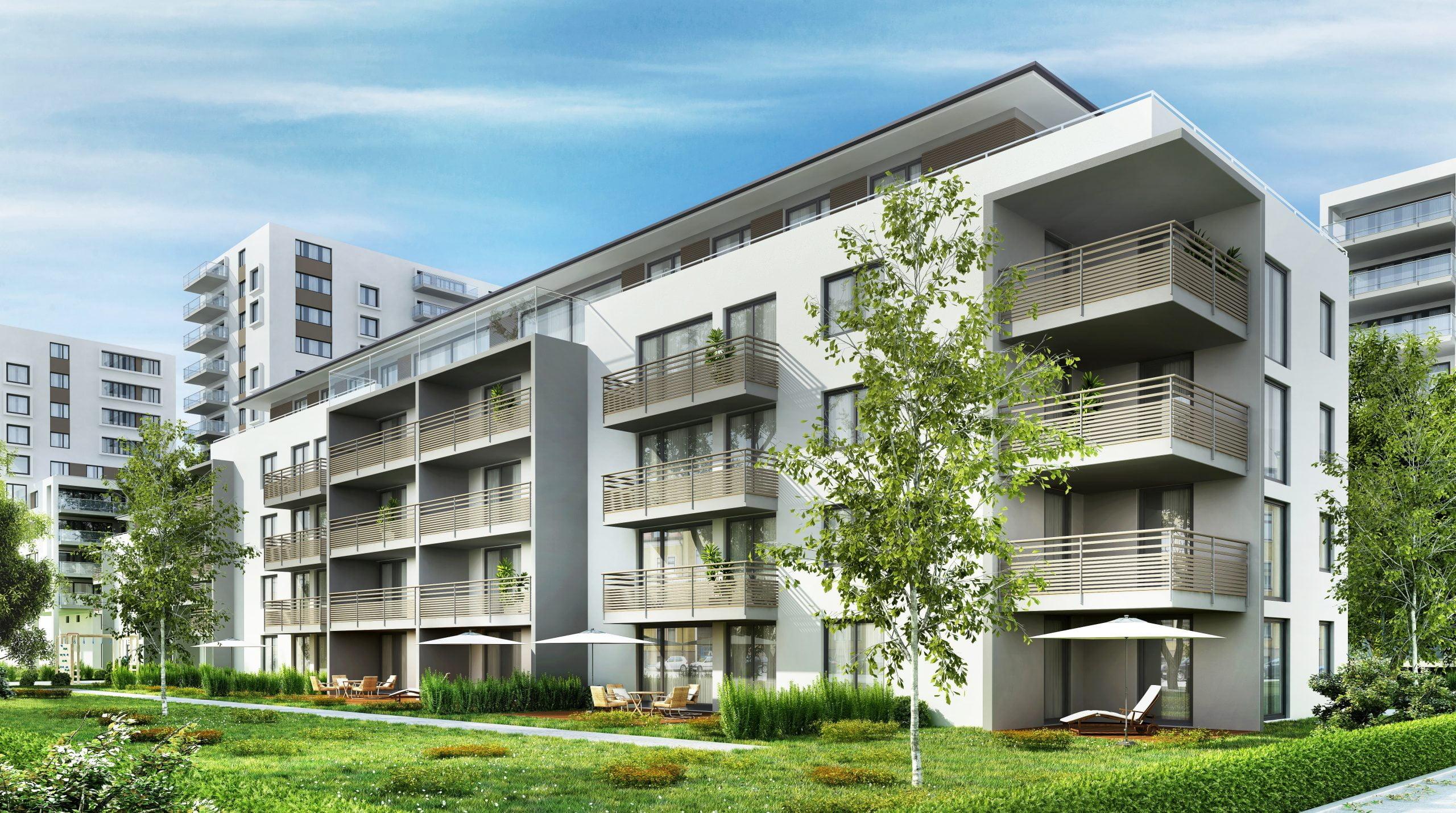 Estás leyendo acerca de seis formas de invertir en edificios de apartamentos por Passive Income, MD. Aquí se muestra un moderno edificio de apartamentos, un ejemplo de una propiedad multifamiliar.