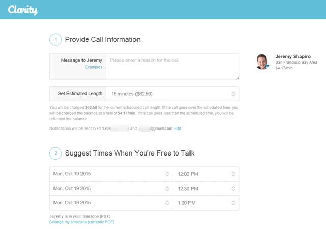 claridad configurar una llamada