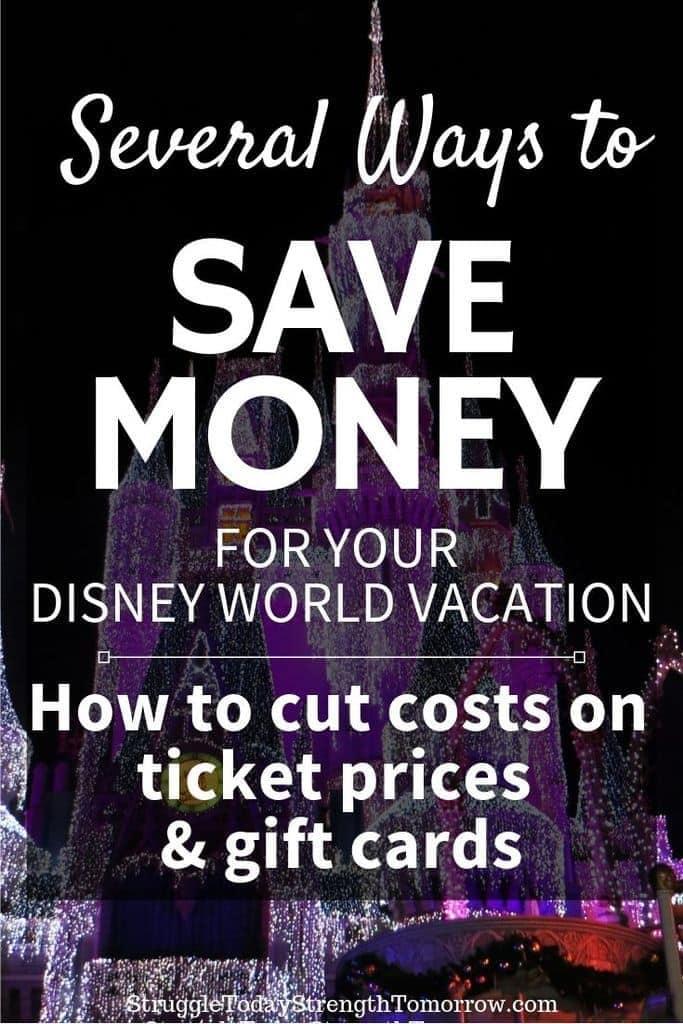 ¿Estás planeando unas vacaciones en Disney World con un presupuesto limitado? Haga clic para ver algunas ideas y trucos que puede usar para boletos de admisión con descuento y tarjetas de regalo. #disney #disneyworld #disneyparks #magickingdom #disneylife #waltdisneyworld #mickeymouse #disneymagic #disneyaddict #savingmoney #budget #frugalliving #frugal