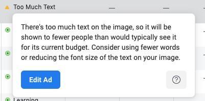 La longitud del texto de los anuncios de Facebook no está aprobada
