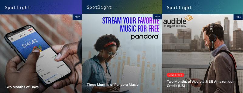Dos meses de ofertas de Dave, Pandora Music y Amazon Audible Spotlight