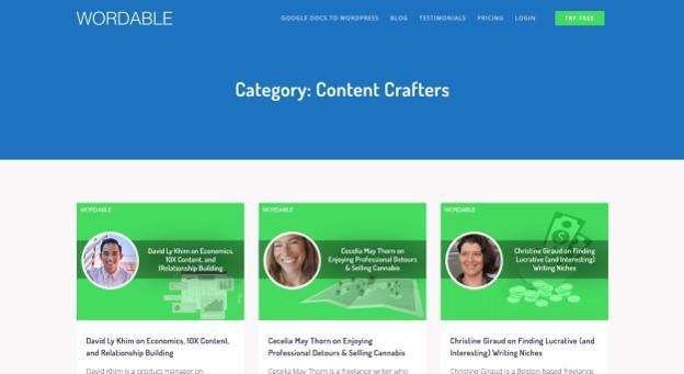 Serie de Crafters de contenido de Wordable