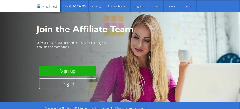 Programa de afiliados de Bluehost