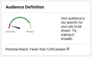 Tamaño de audiencia de los anuncios de Facebook