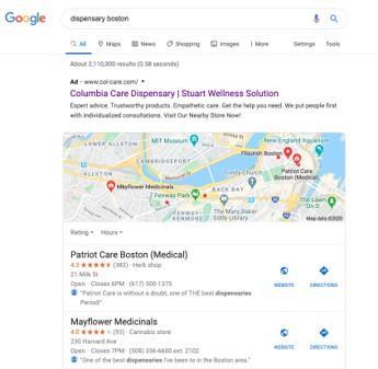 anuncio de marketing de cannabis en Google SERP