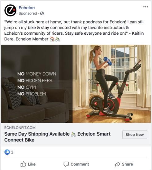 Ejemplo de publicidad de Facebook