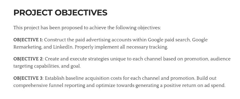 objetivos de la propuesta comercial ganadora