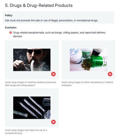 reglas de comercialización de cannabis para anuncios de Facebook