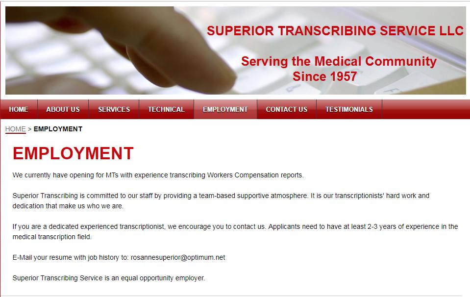 """superior_transcriving_services_remote_medical_transcription_jobs_ """"width ="""" 959 """"height ="""" 606 """"srcset ="""" https://cdn.shortpixel.ai/client/q_lossless,ret_img,w_959/https://earnsmartonlineclass.com/wp-content/uploads/20 /superior_transcriving """". : //cdn.shortpixel.ai/client/q_lossless,ret_img,w_550/https: //earnsmartonlineclass.com/wp-content/uploads/2013/10/superior_transcriving_services_remote_medical_transcription_jobs_-550x348.png 550w """"tallas (ancho ="""" 959px) 100vw, 959px """"/></p> <p>Debe ser un transcriptor experimentado con al menos 2-3 años de experiencia en el campo de la transcripción médica. Enviar currículum a (correo electrónico protegido)</p> <p>También puede ir a su sitio web para obtener más información sobre sus puestos vacantes.</p> <h3><span style="""
