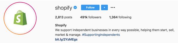 instagram bios shopify