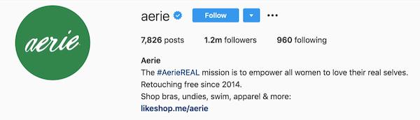 Instagram bios aerie
