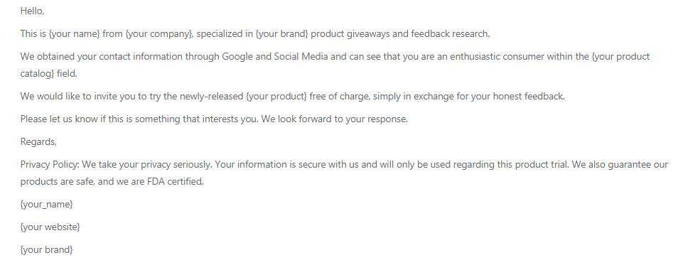 plantilla de correo electrónico de marketing