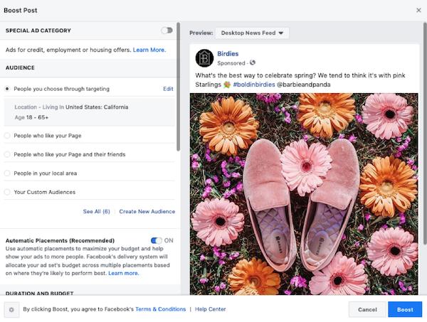 audiencia patrocinada por publicaciones de facebook
