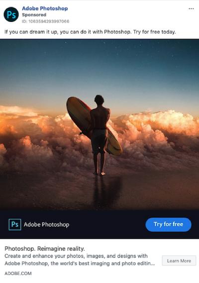 Ejemplo de publicaciones patrocinadas en Facebook Adobe Photoshop