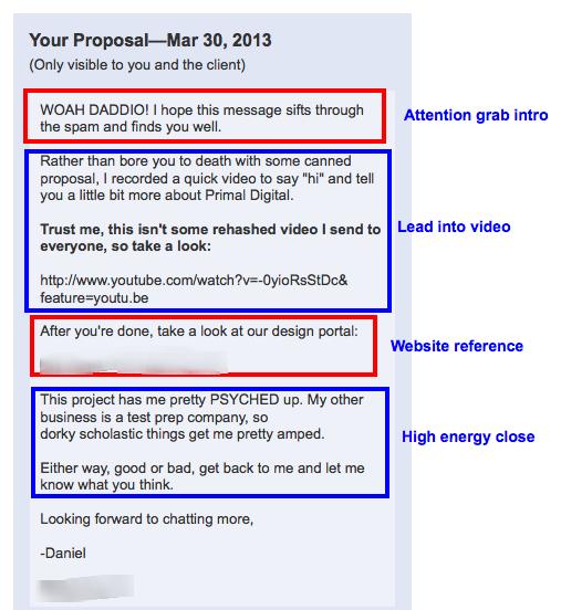 captura de pantalla de ejemplo de correo electrónico de alcance en frío