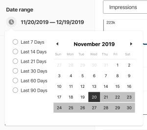 Selector de rango de fechas de Pinterest Analytics