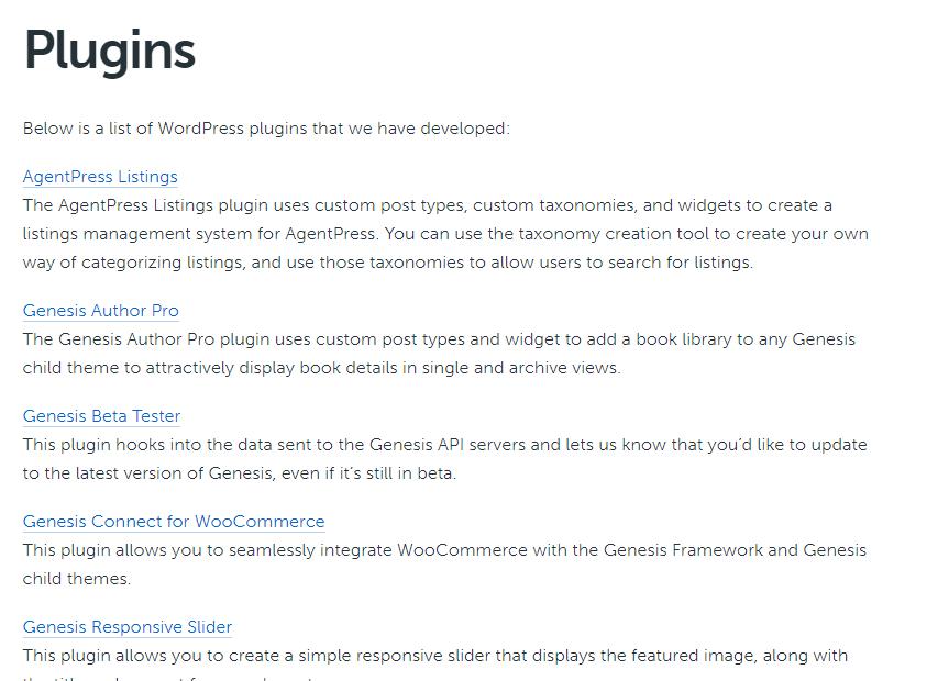 captura de pantalla de plugins de genesis