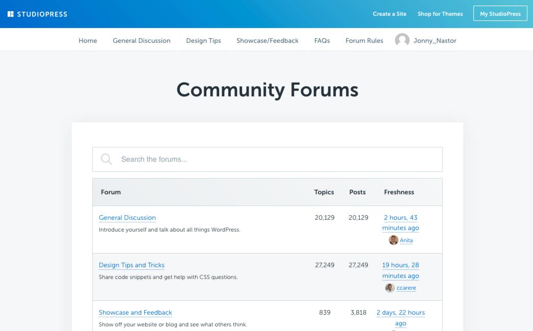 captura de pantalla de los foros comunitarios de studiopress