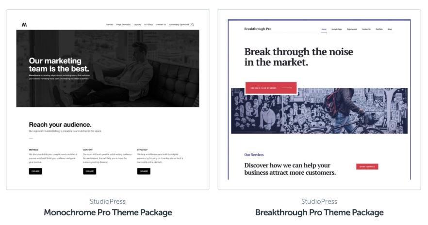 Captura de pantalla de temas empresariales de StudioPress