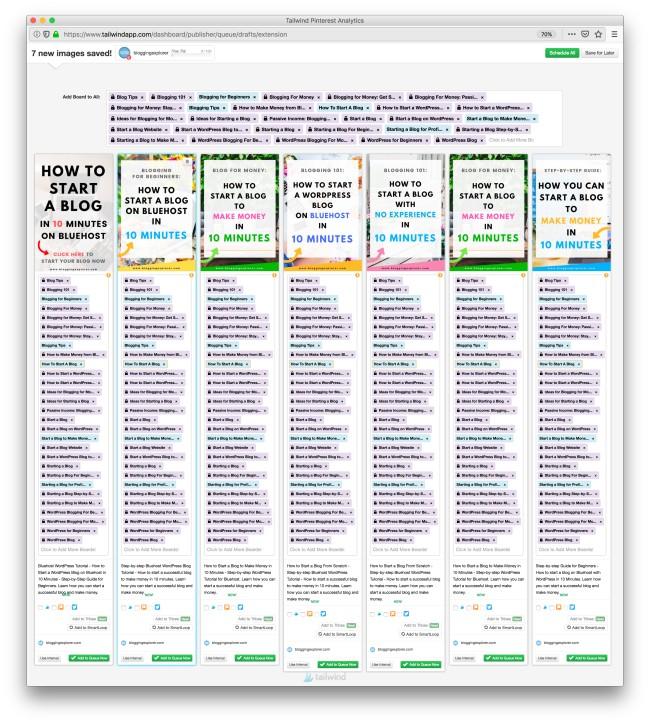 Inversiones en blogs inteligentes cuando inicia un blog desde cero: ahorre toneladas de tiempo y dinero con las herramientas de automatización de redes sociales para aumentar el tráfico de su blog y ganar dinero blogging - Tailwind App
