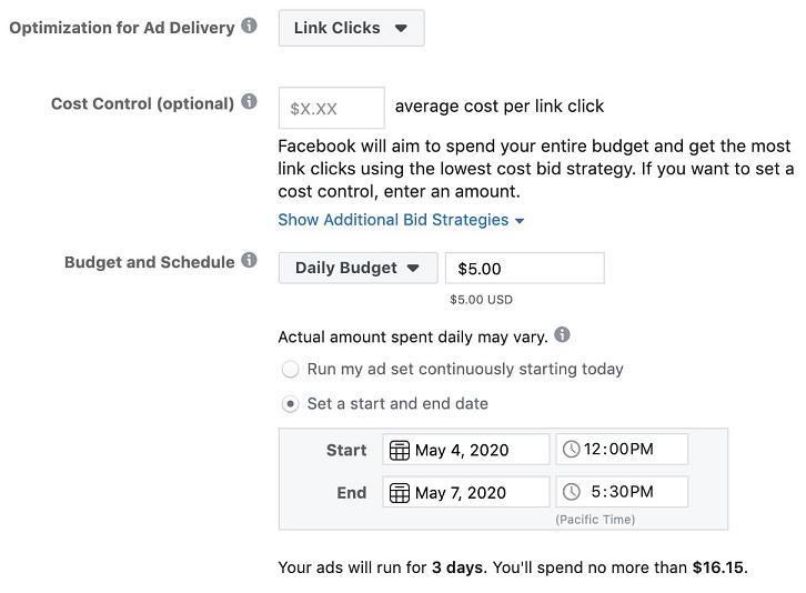 Programación de anuncios de Facebook