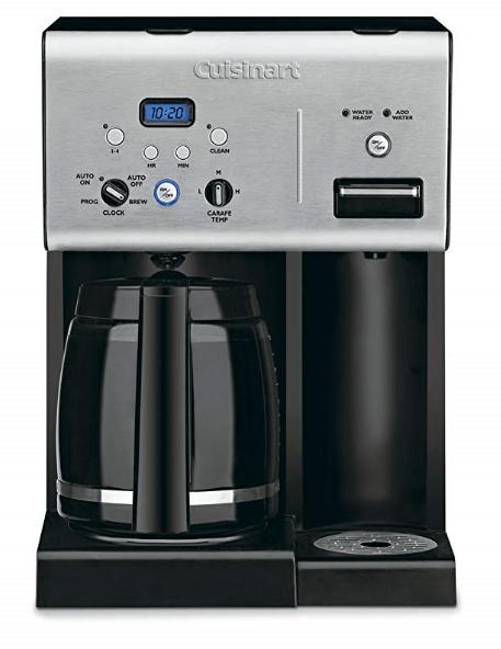 Cuisinart CHW-12 Coffee Plus Cafetera programable de 12 tazas con sistema de agua caliente, negro / inoxidable