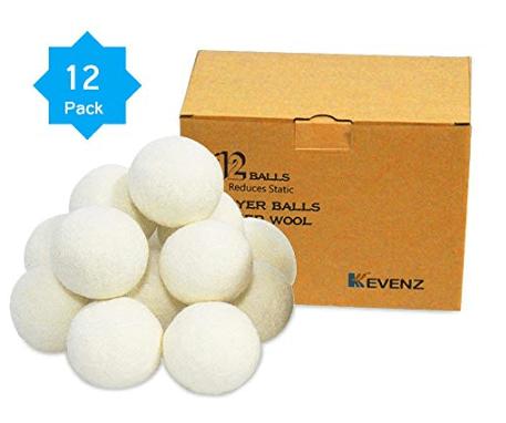 Paquete de 12 bolas de secadora de lana australiana Kevenz XL Premium, suavizante de tela natural orgánico reutilizable y bola reductora estática (blanco, paquete de 12)