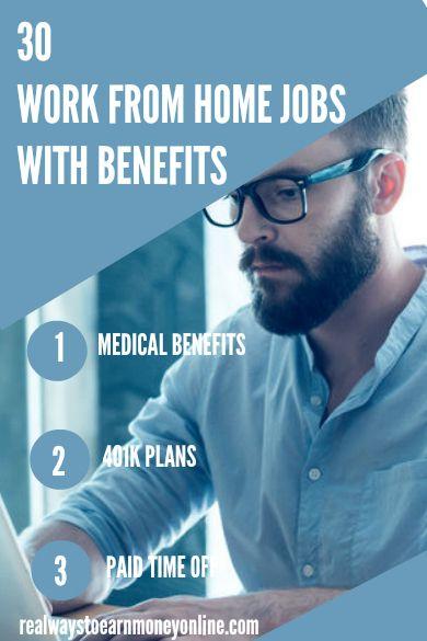 30 trabajos desde casa trabajos con beneficios. Médico, dental y más. #workfromhomejobs #workathomejobs #remotework #wahm