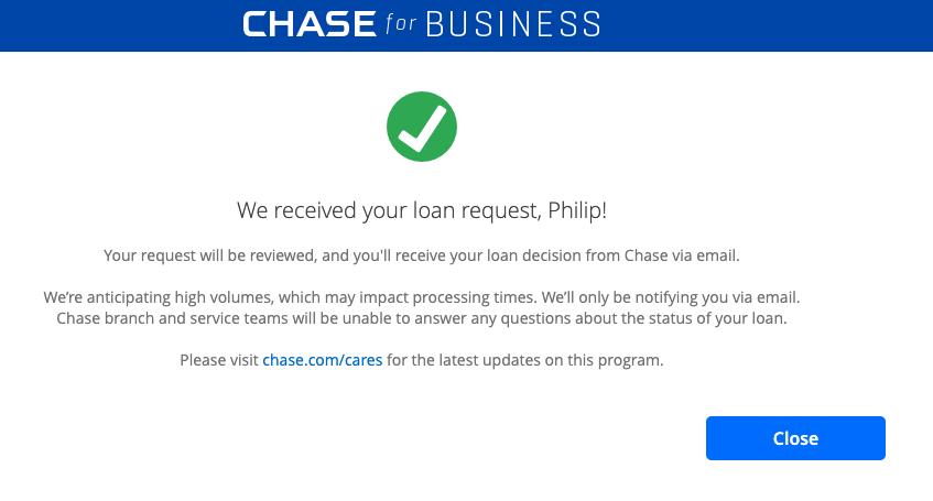 Notificación de solicitud de PPP de Chase