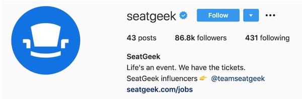 instagram bios seatgeek