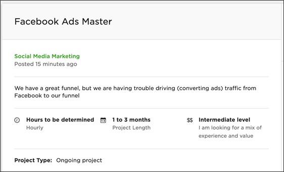 ejemplo de un trabajo de marketing remoto en upwork