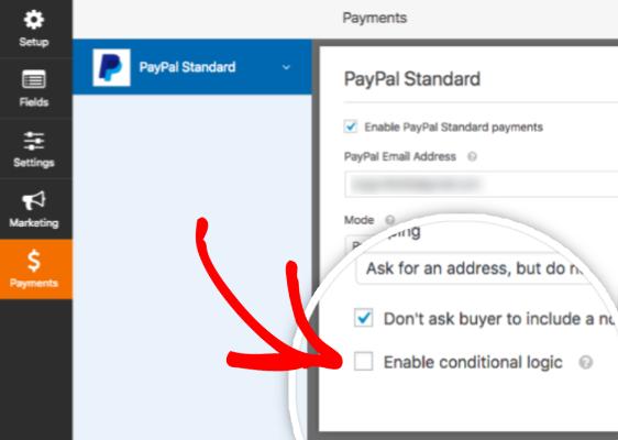 Habilite la lógica condicional en el complemento de PayPal de WPForms