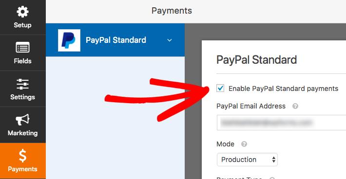 Habilitar pagos de PayPal para un formulario