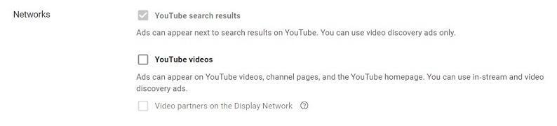 Selección de anuncios de descubrimiento de YouTube